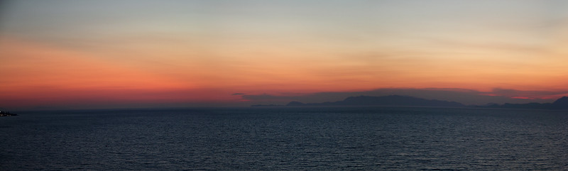 Sunset view of the Aegean Sea.