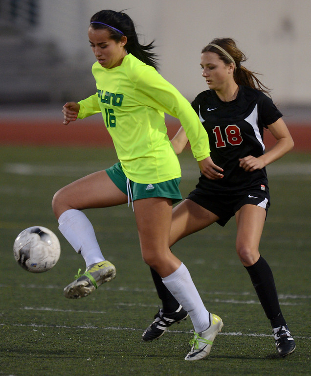 . Upland (green) vs San Clemente girls varsity soccer CIF-SS Division 1 first round playoff game action Thursday, February 14, 2013, at Upland High School in Upland. Upland was eliminated by San Clemente 1-0 in overtime. Jennifer Cappuccio Maher/Staff Photographer
