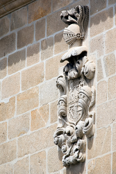 Coat of arms on the wall of Santa Maria church, Brozas, Caceres, Spain