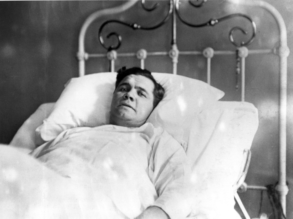 . UNDATED:  AN ILL BABE RUTH OF THE NEW YORK YANKEES BASEBALL TEAM LYING IN HIS HOSPITAL BED AT ST.VINCENT\'s HOSPITAL AND PHOTOGRAPHED FOR THE FIRST TIME SINCE HIS ILLNESS. Mandatory Credit: Allsport Hulton/Archive