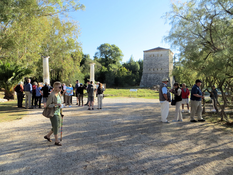 One major attraction for tourists is the ancient city of Butrint, a UNESCO World Heritage Site.  It is located in the National Park of Butrint.  This is at the entrance to the site.  The tower was built by the Venetians in the 15th or 16th century.