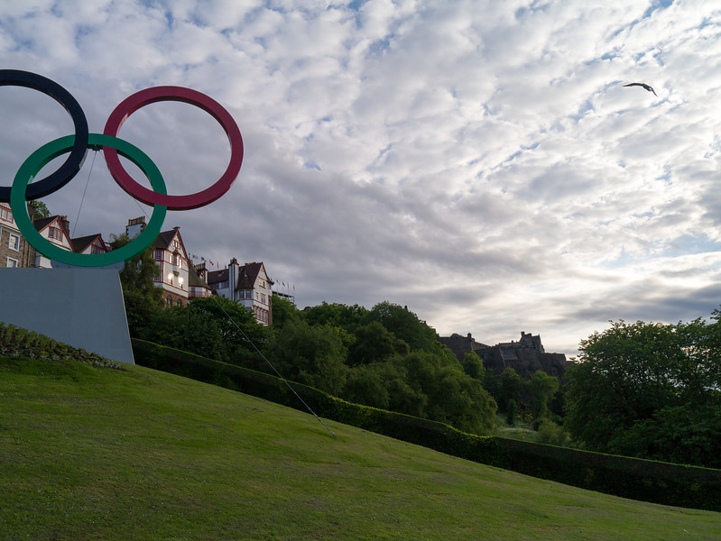 Olympic rings on The Mound with Edinburgh Castle in the background