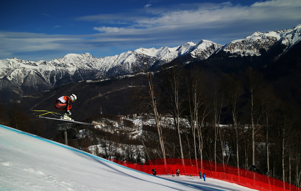 . Ferran Terra of Spain competes during the Alpine Skiing Men\'s Super Combined Downhill on day 7 of the Sochi 2014 Winter Olympics at Rosa Khutor Alpine Center on February 14, 2014 in Sochi, Russia.  (Photo by Clive Rose/Getty Images)