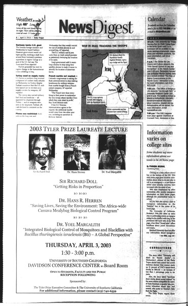 Daily Trojan, Vol. 148, No. 47, April 03, 2003