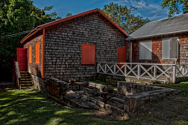 18th century sugar mill on St. Kitts.  Old 17th century rum distillery recently discovered here.