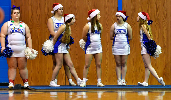 12/7/2019 Mike Orazzi | StaffrCCSU Cheerleaders during Saturday's mens basketball game with the University of Maine in New Britain. rr