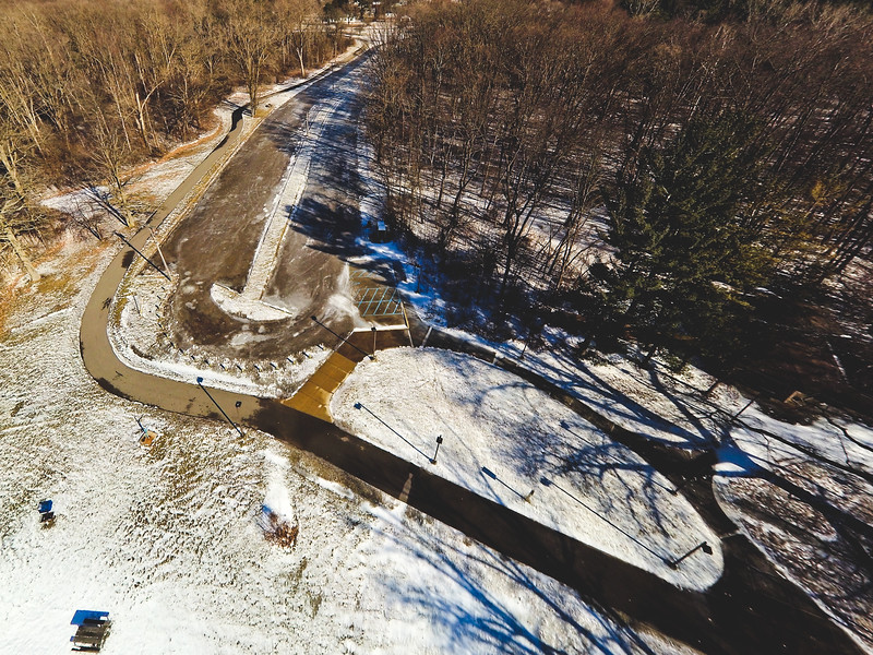 Stepping Stone Falls Clear Winter Day Aerial Photography 6