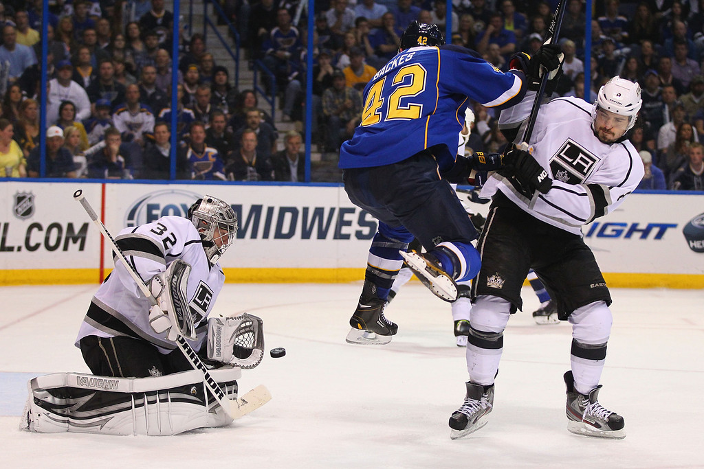 . ST. LOUIS, MO - MAY 8: David Backes #42 of the St. Louis Blues jumps out of the way of a shot on goal against Drew Doughty #8 of the Los Angeles Kings as Jonathan Quick #32 of the Los Angeles Kings makes a save in Game Five of the Western Conference Quarterfinals during the 2013 NHL Stanley Cup Playoffs at the Scottrade Center on May 8, 2013 in St. Louis, Missouri.  (Photo by Dilip Vishwanat/Getty Images)