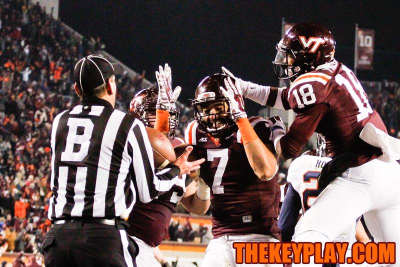 Bucky Hodges (7) and Cam Phillips (18) celebrate the touchdown. (Mark Umansky/TheKeyPlay.com)