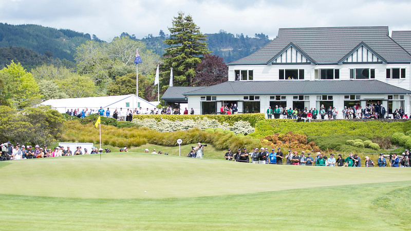 View of the clubhouse and Yuxin Lin's ball beside the pin after his second shoton the par five 18th hole on the  final day of the Asia-Pacific Amateur Championship tournament 2017 held at Royal Wellington Golf Club, in Heretaunga, Upper Hutt, New Zealand from 26 - 29 October 2017. Copyright John Mathews 2017.   www.megasportmedia.co.nz