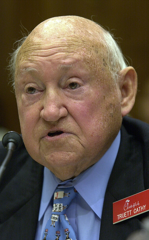 . S. Truett Cathy, founder and chairman of Chick-Fil-A, Inc., appears before the House Energy and Commerce Subcommittee on Commerce, Trade and Consumer Protection on Capitol Hill Friday, July 26, 2002.   (AP Photo/Dennis Cook)