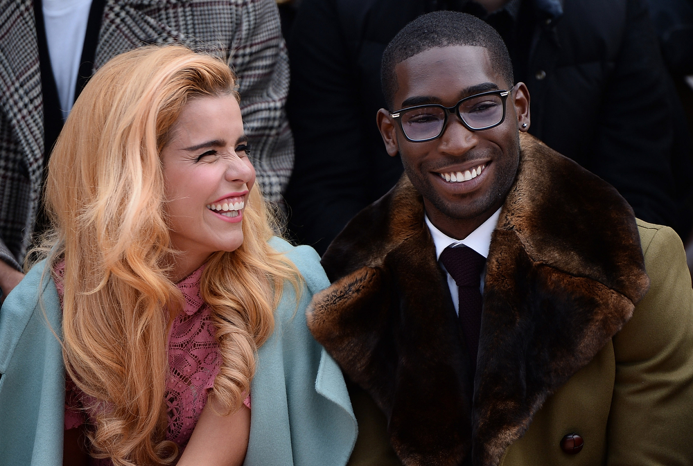 . (L-R) Paloma Faith and Tinie Tempah sit in the front row during Burberry AW14 Menswear Show at Kensington Gardens on January 8, 2014 in London, England.  (Photo by Ian Gavan/Getty Images for Burberry)