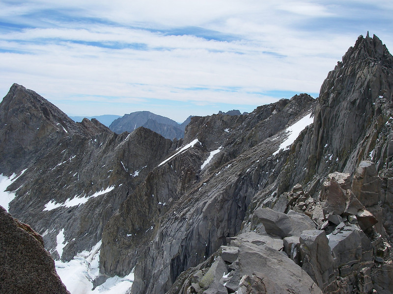 Starlight Peak (4.328 m = 14,200 ft) and Mount Sill (4.314 m = 14,153 ft)