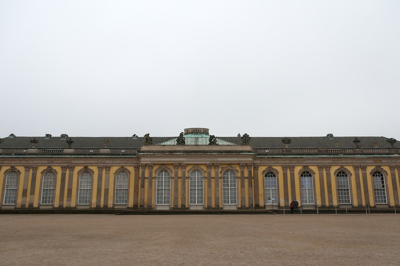 Wide shot of the Sanssouci Palace in Potsdam, Germany
