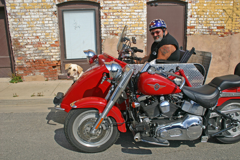 My riding pal Rick, with his Harley specially built for a parapalegic