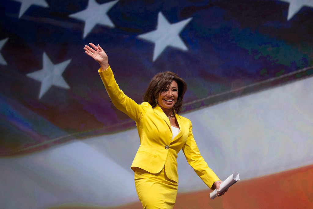 ". Jeanine Pirro, host of ""Justice with Judge Jeanine,\"" waves before speaking at the National Rifle Association-Institute for Legislative Action (NRA-ILA) Leadership Forum at the George R. Brown Convention Center, the site for the NRA\'s annual meeting in Houston, Texas May 3, 2013. President Barack Obama and national media are demonizing law-abiding gun owners in the wake of recent violent acts, NRA leaders and political allies said on Friday at its first convention since the Connecticut school massacre. Organizers expect some 70,000 attendees at the 142nd NRA Annual Meetings & Exhibits in Houston, which began on Friday and continues through Sunday.  REUTERS/Adrees Latif"