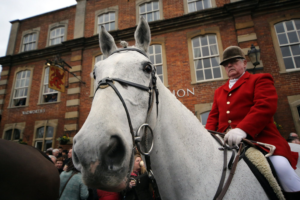 . Huntsman Mike Smith from the Avon Vale Hunt, joins supporters outside the Red Lion pub who have gathered to watch their traditional Boxing Day hunt, on December 26, 2012 in Lacock, England. As hundreds of hunts met today, Environment Secretary Owen Paterson claimed that moves to repeal the ban on hunting with dogs in England and Wales may not happen in 2013, although he insisted it was still the government\'s intention to give MPs a free vote on lifting the ban.  (Photo by Matt Cardy/Getty Images)