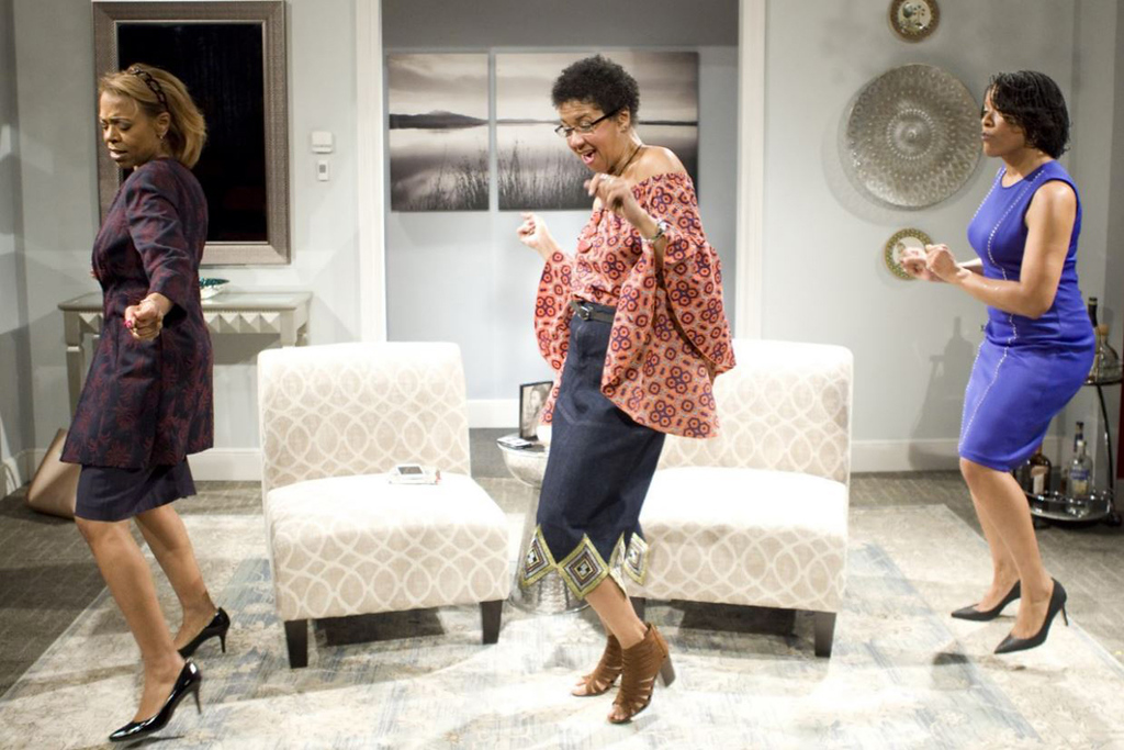 . Jeanne Madison, left, Rebecca Morris and Kimberly Sias perform in �Sassy Mamas� at Karamu House. The show continues through March 4 at the Cleveland theater. For more information, visit karamuhouse.org.  (Colleen Albrecht)