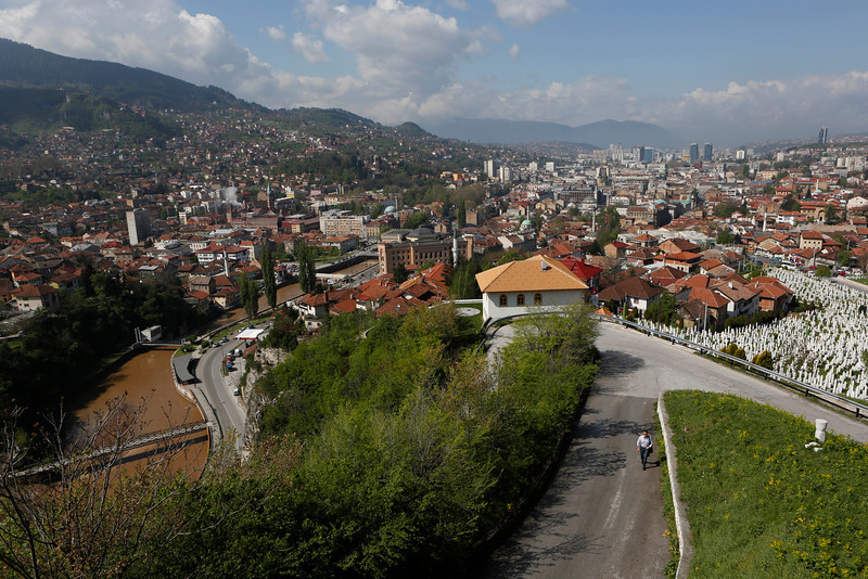 . This Tuesday, April 22, 2014 photo shows an overview of the city of Sarajevo, Bosnia-Herzegovina. World War I is just one era in the history of this multicultural city, with its legacies of Islamic Ottoman, Jewish, Christian Orthodox and Roman Catholic religions. (AP Photo/Amel Emric)