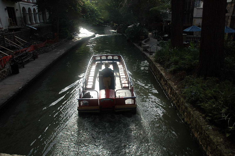 River Walk in downtown San Antonio, TX, location of the mystery overnight stay.