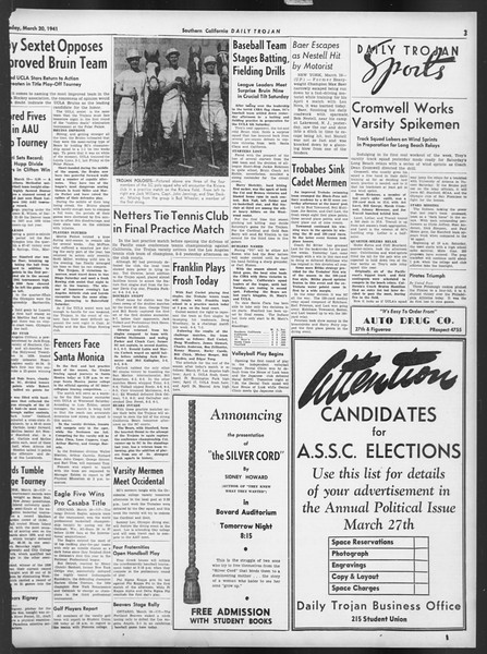 Daily Trojan, Vol. 32, No. 105, March 20, 1941