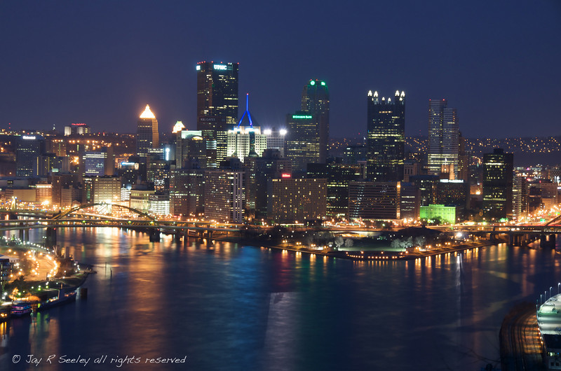 Pittsburgh at night showing the 3 rivers