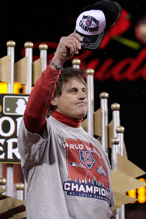 . Manager Tony La Russa of the St. Louis Cardinals celebrates after defeating the Texas Rangers 6-2 in Game Seven of the MLB World Series at Busch Stadium on October 28, 2011 in St Louis, Missouri.  (Photo by Charlie Riedle-Pool/Getty Images)