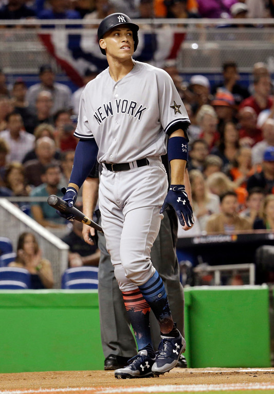 . American League\'s New York Yankees Aaron Judge (99), reacts after he struck out, during the first inning at the MLB baseball All-Star Game, Tuesday, July 11, 2017, in Miami. (AP Photo/Lynne Sladky)