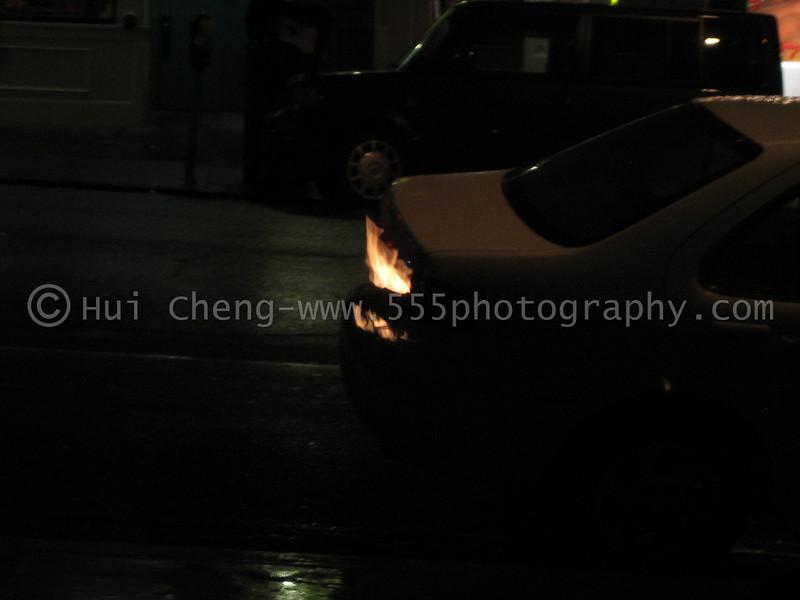 Car really on fire?