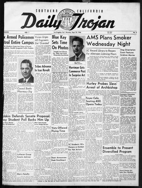 Daily Trojan, Vol. 38, No. 6, September 23, 1946