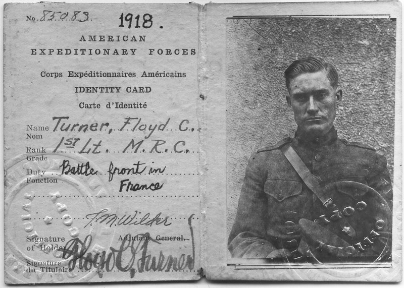 Floyd C. Turner WWI Identity Card