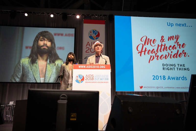 22nd International AIDS Conference (AIDS 2018) Amsterdam, Netherlands.   Copyright: Steve Forrest/Workers' Photos/ IAS  Photo shows: Me and My Healthcare Provider Awards with Conchita and Edwin Cameron