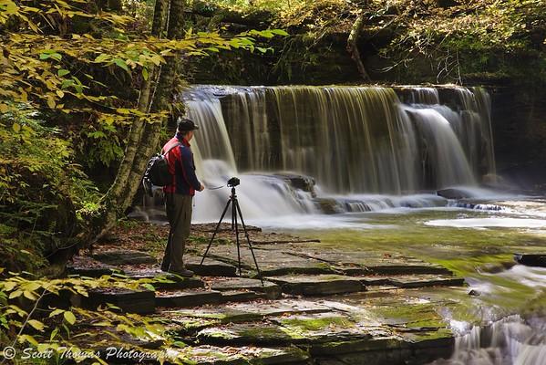 Photographer at Upper Pinnacle Falls in Fillmore Glen State Park near Moravia, New York