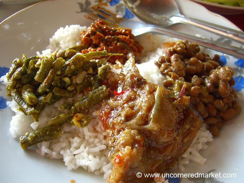 Burmese Food, Assortment of Burmese Vegetarian Curries - Mandalay, Burma