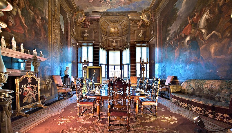 The Bow Room (dining room) at the Burghley House painted by Louis Laguerre in 1697