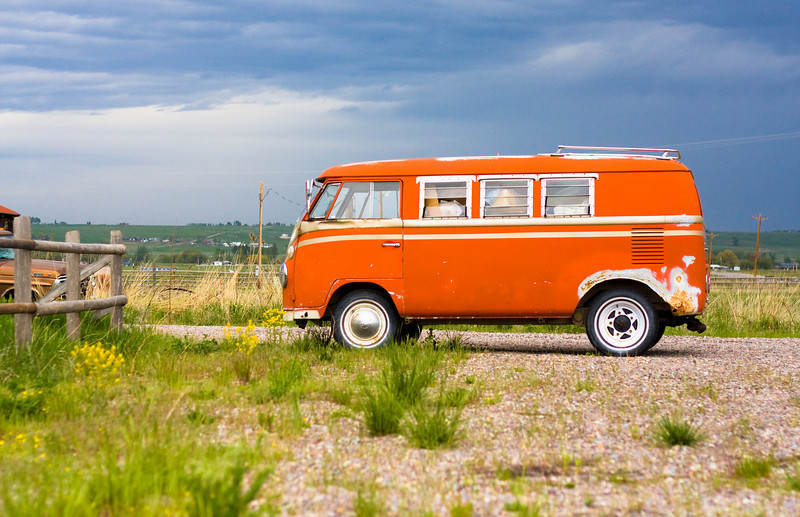 This orange Volkswagen Bus was parked out front of the trading post.  Four Winds Indian Trading Post! http://www.visitmt.com/categories/moreinfo.asp?IDRRecordID=9530&SiteID=1