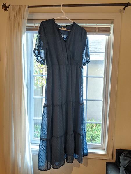 Medium blue midlength chiffon dress