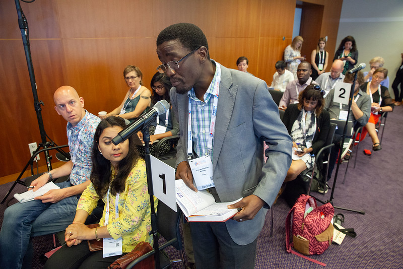 The Netherlands, Amsterdam, 25-7-2018. Press conference: The future of HIV funding: the public, questions. Eric Mcheka, activist from Malawi, project coordinator of Compass.Photo: Rob Huibers for IAS. (Please publish always with complete attribution).