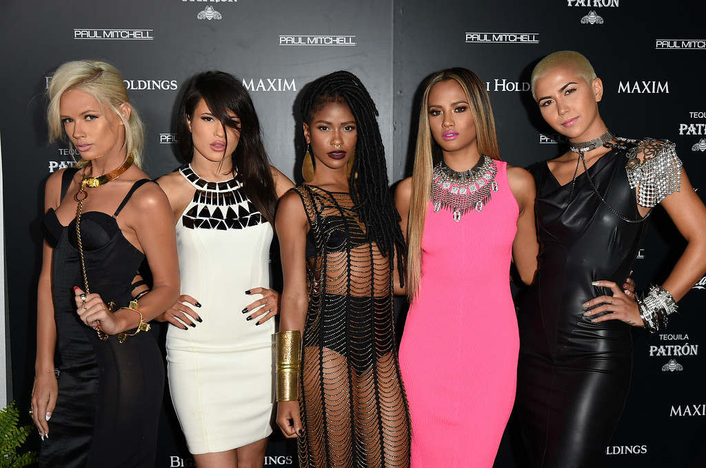 . (L-R) Singers Lauren Bennett, Natasha Slayton, Simone Battle, Emmalyn Estrada and Paula Van Oppen of G.R.L. attend Maxim\'s Hot 100 Women of 2014 celebration and sneak peek of the future of Maxim at Pacific Design Center on June 10, 2014 in West Hollywood, California.  (Photo by Jason Merritt/Getty Images for MAXIM)
