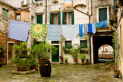 Laundry line in a quiet corner of Venice, Italy.