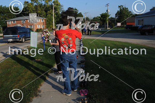 Oswego, IL 9-11 Empty Shoe Memorial and Walk of Honor on Washington Street 9-11-11