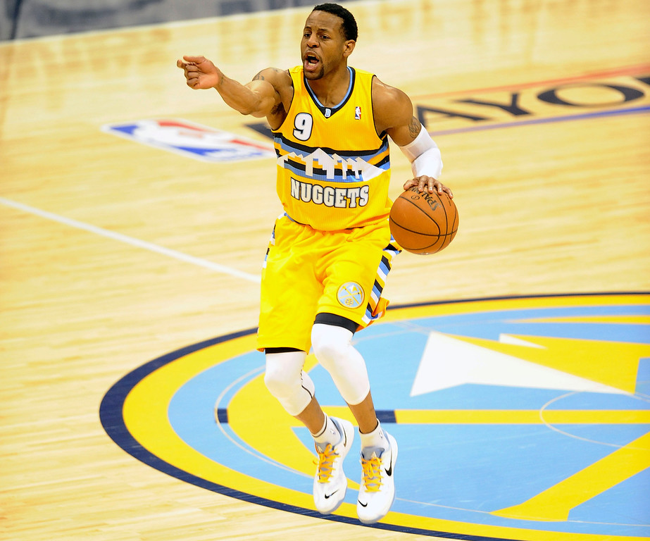 . DENVER, CO. - APRIL 20: Denver Nuggets guard Andre Iguodala (9) tries to get a play set up as time wound down in the first quarter. The Denver Nuggets took on the Golden State Warriors in Game 1 of the Western Conference First Round Series at the Pepsi Center in Denver, Colo. on April 20, 2013. (Photo by Steve Nehf/The Denver Post)