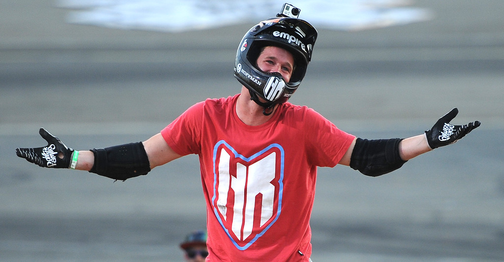 . Morgan Wade reacts after falling on his final ride, but would win the gold medal during the GoPro BMX Big Air Final at Irwindale Speedway on Friday, Aug. 2, 2013 in Irwindale, Calif.   (Keith Birmingham/Pasadena Star-News)
