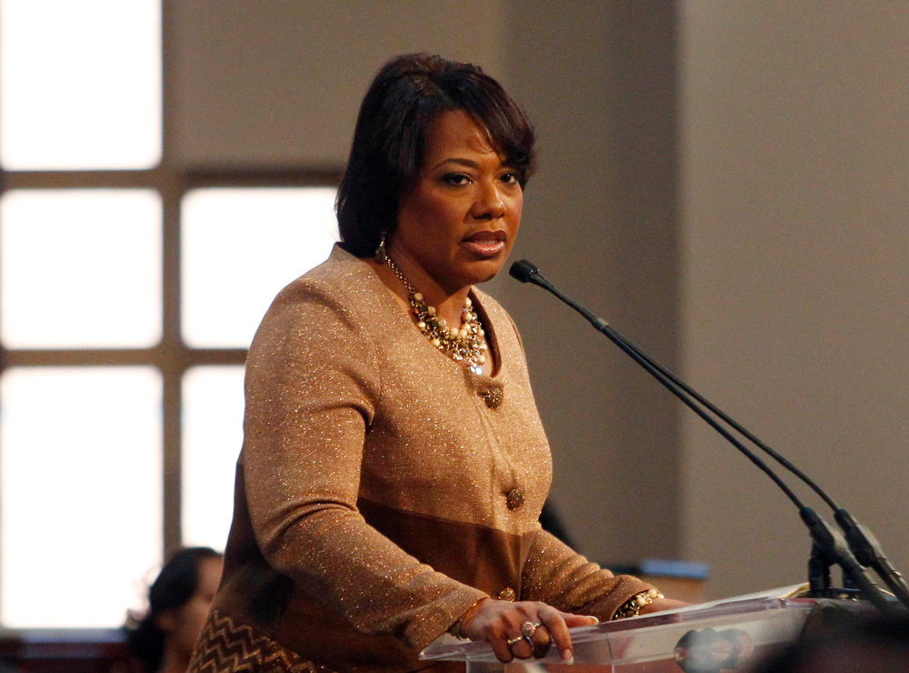 Description of . Dr.Bernice King, CEO of the King Center speaks during the 45th Martin Luther King, Jr. Annual Commemorative Service in Atlanta, Georgia, January 21, 2013. REUTERS/Tami Chappell
