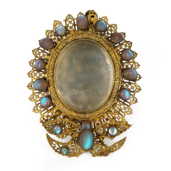 Antique Edwardian Saphiret Glass Cabochon Gold Filigree Photoframe サフィレット