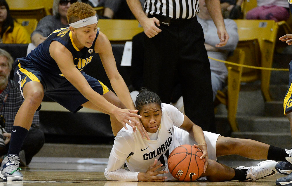 . California Golden Bears guard Layshia Clarendon (23) and Colorado Buffaloes guard Brittany Wilson (11) scramble for a lose ball during the first half Sunday, January 6, 2013 at Coors Events Center. John Leyba, The Denver Post