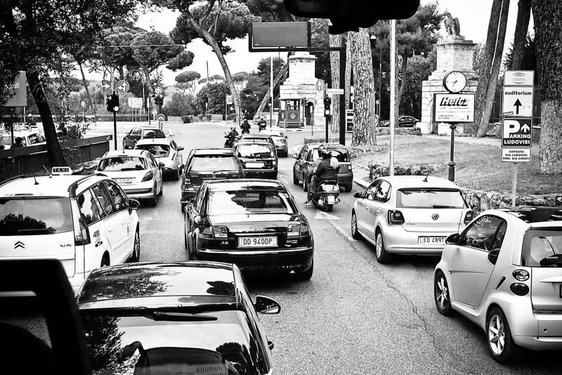 Traffic in Rome, they don't use lanes here