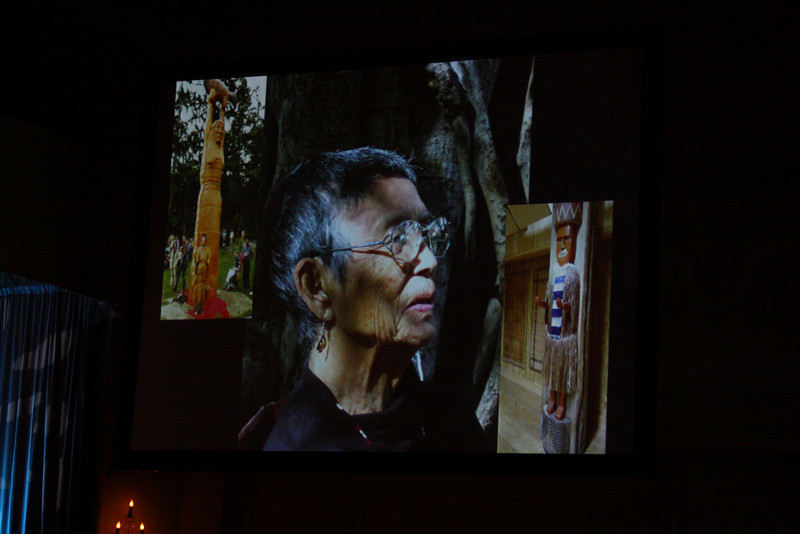 """""""Documenting Lushootseed, Through Its Last Living Speakers: A Foresight Foundation Project"""": A slide of the late Lushootseed Living Treasure Vi Hilbert"""