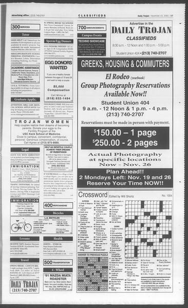 Daily Trojan, Vol. 144, No. 55, November 15, 2001