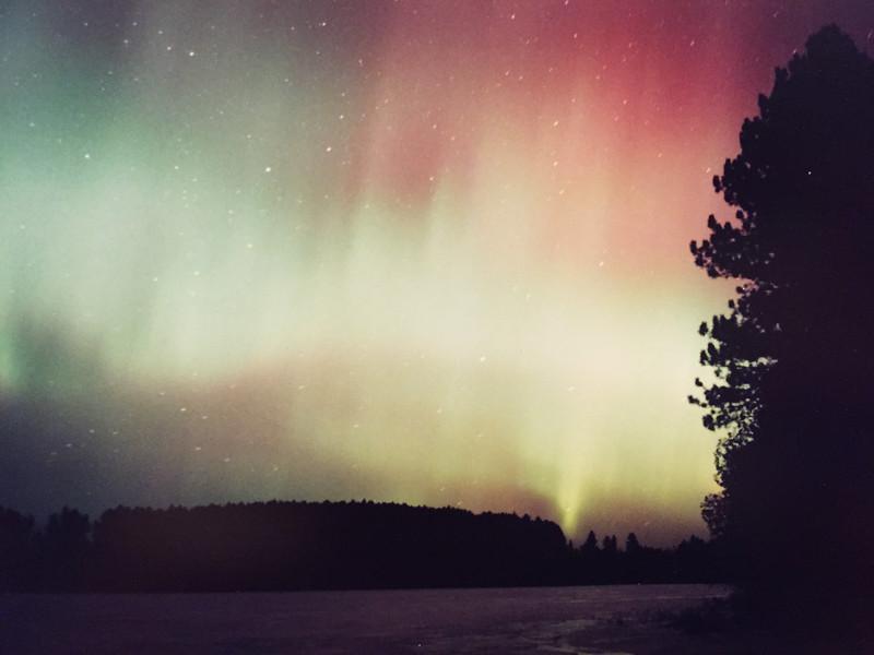 Aurora Borealis Over Frozen Sand Lake #1  c. 1999/2000/2001